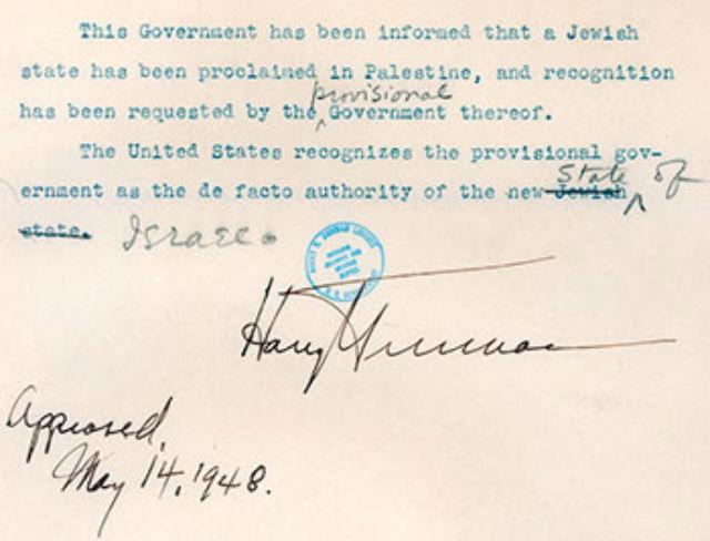 Truman letter recognizing Israel